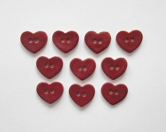 Heart Buttons - Handcrafted Stoneware - Made in Maine by Caryn Burwood of Concepts In Clay