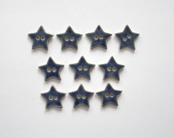 Blue Star Buttons - Handcrafted Stoneware - Made in Maine by Caryn Burwood of Concepts In Clay