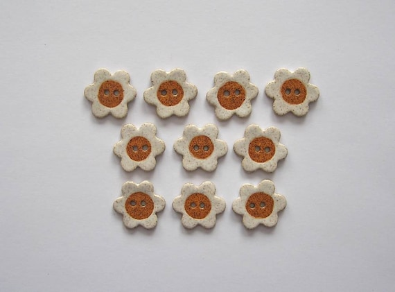 Daisy Buttons - Handcrafted Stoneware - Made in Maine by Caryn Burwood of Concepts In Clay