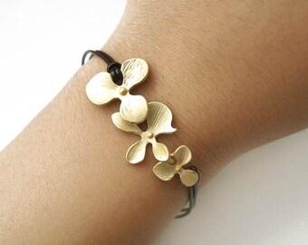 Matte Gold Cascading Orchid & Leather Bracelet