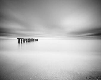Black and white art print of an old abandon pier on Boca grande island Florida
