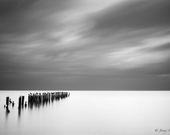Fine Art Black and White Print of an old pier in Naples, Florida