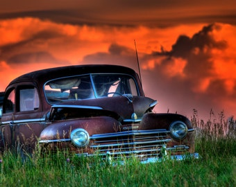 abandon car  fine art photography print,