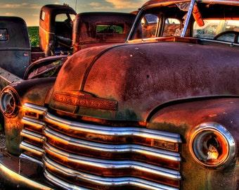 Rusty Trucks sitting abandon at sunrise in South Dakota, Fine art