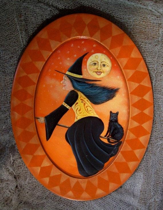 Halloween folk art vintage look  witch cat painting on wood