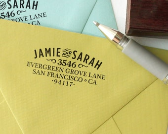 Return address stamp WOODTYPE ARCH with a wood handle - wedding stamp - personalized stamp- custom address stamper
