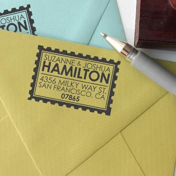 Custom return address stamp POSTAGE STAMP DESIGN with  wood handle