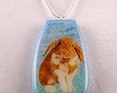 Floppy Ear Bunny Art Pendant with Chain