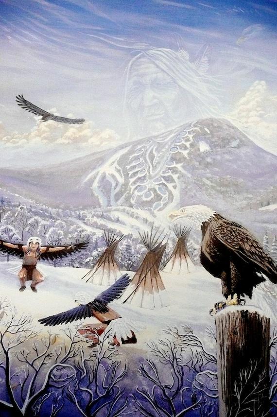 Eagle Art Print Native American Art Print Totem By