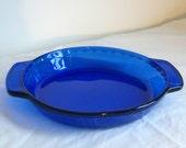 """Anchor Hocking 9"""" pie dish....cobalt blue"""