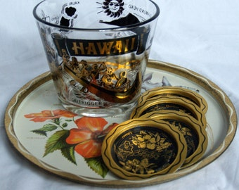Vintage Hawaiian party set.  serving bowl.  metal tray.  4 metal ashtrays.