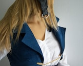MADE TO ORDER Womens Pirate Airship Cordoroy Vest Jacket with Tails blue