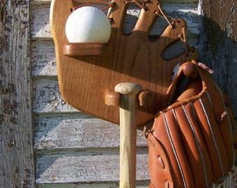 Natural Solid Oak Child's Baseball, Bat and Glove Holder, Handmade