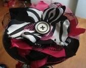 Scrappy Zebra Fascinator with Vintage Button Center