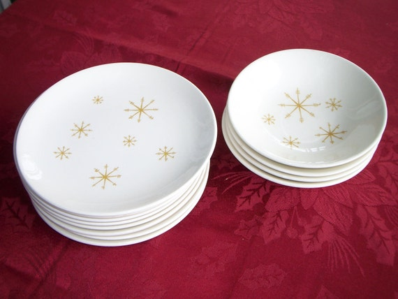 Star Glow Royal China Small plates and bowls Atomic Starburst Design Mid Century Retro