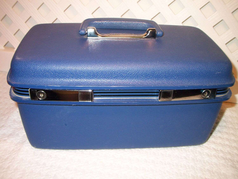 blue train case samsonite luggage cosmetic case vintage retro. Black Bedroom Furniture Sets. Home Design Ideas