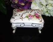 "Beautiful Rose & Gold Original Arnart Trinket Box-4.5"""
