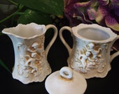 Vintage Lefton Cherub Relief Creamer and Sugar Set-2.5""