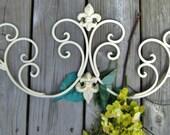 """Antique White Creamy Indoor/outdoor Wrought Iron Fleur De Lis Scroll Wall Decor-31"""""""