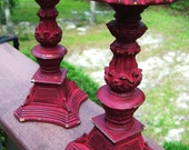 "Country Red Distressed and Antiqued Candle Holders-8""  ONE PAIR"