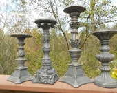 Shabby Cottage Distressed Matte Gray Mixture of 4 Candle Holders-Varied Heights and Sizes