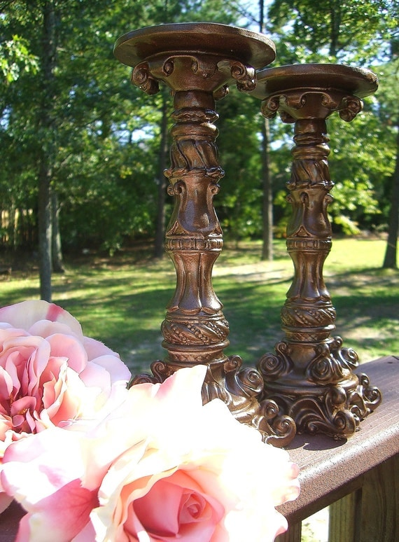"""Brown Sparkle 10"""" Candle Holders- """"One Pair"""""""