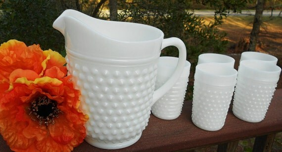 ON SALE....  Vintage Milk Glass Hobnail Pitcher and matching tumblers-Mint Condition