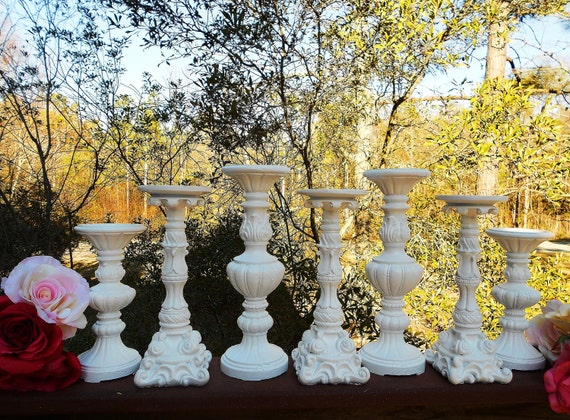 """My Sweet Shabby White Wedding 7 Piece Candle Holder Set-11.5"""" down to 8"""""""