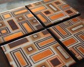 Brown and  Copper Coaster Set of 4
