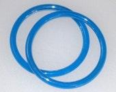 2 Blue Iridescent ART GLASS Bangle Bracelets - Vintage