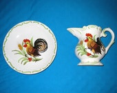 Lefton ROOSTER Pitcher and Bowl / ITALY / Slight Damage