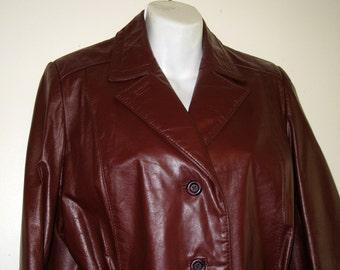 Etienne Aigner 1970s Vintage Burgundy Leather Jacket / Sz. 12 - Excellent