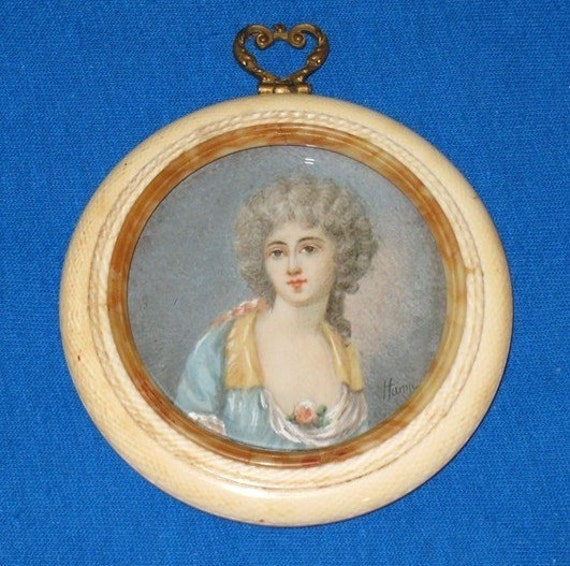 RESERVED for Robin - Miniature Portrait Painting / Pre Ban Ivory Frame - Signed - To US Only