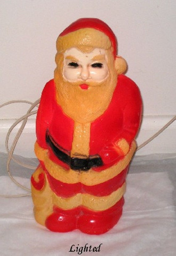 "Vintage 1960s Light Up SANTA Blow Mold Figure - Union Products - 13 1/2"" Works"