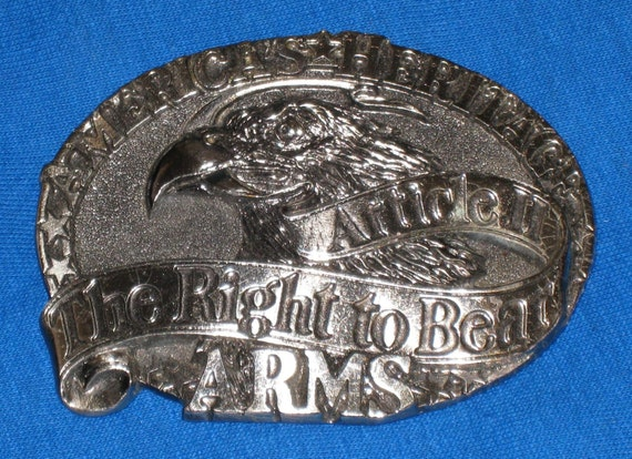 1984 Right To Bear Arms Gunmetal Gray Belt Buckle - Serial No. H 1605