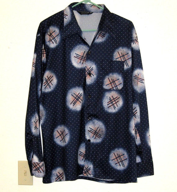 Blue 1970s Silky Polyester Disco/ Mod/ Hippie Shirt - Sz. 46 - Funky, Leisure, Pop Art, Abstract