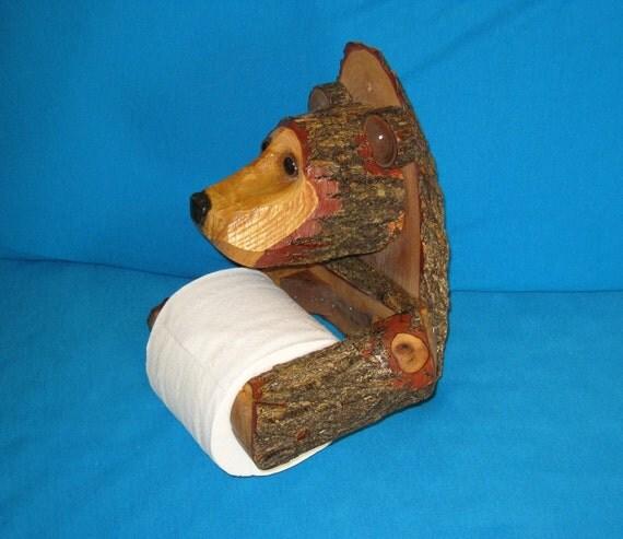 Rustic Carved Cedar BEAR Toilet Paper Holder - Glass Eyes - Large OOAK