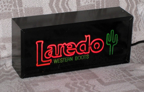 "REDUCED - LAREDO Western Boots Electric Neon Look Indoor Sign / 15"" x 6 3/4"" / Free US Shipping"