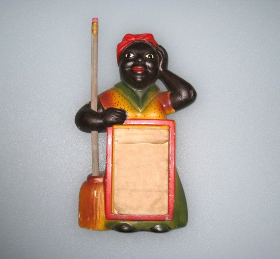 1954 Black Americana MAMMY Chalkware Figure Notepad w/ Broom Handle Pencil