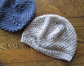 Silver Grey Star Beanie slouch hat in cotton and hemp - Summer Sale