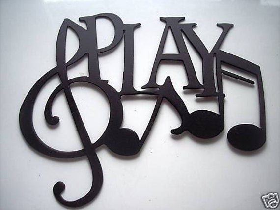 Wall Decor Music Theme : Play word with notes metal wall art music by sayitallonthewall