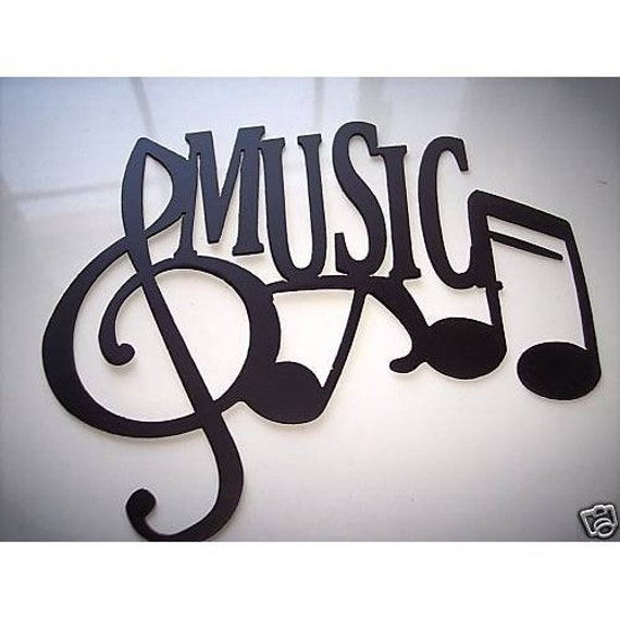 Music Word With Notes Metal Wall art Music / Home Decor