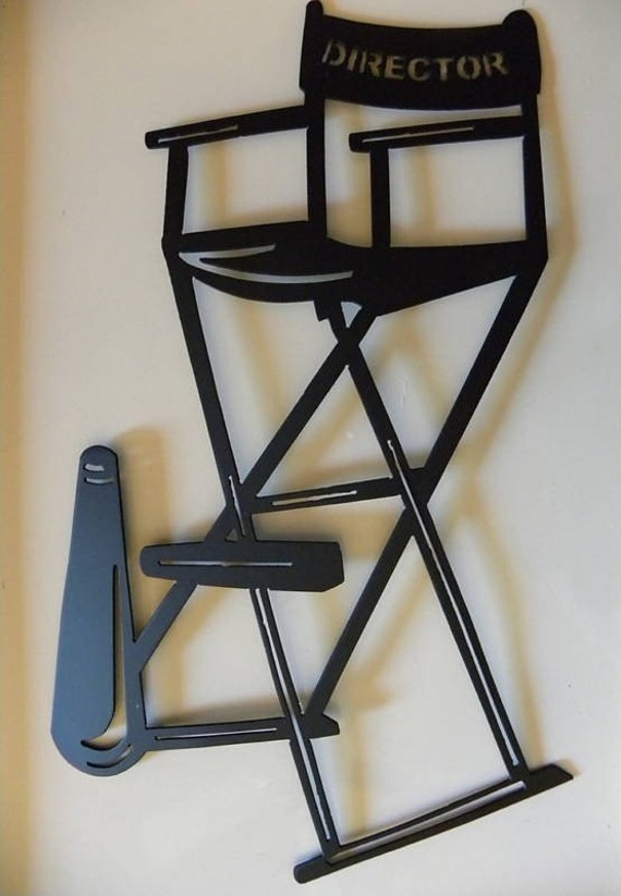 Home Theater Decor Metal Wall Art ~ Home theater decor directors chair w horn by sayitallonthewall