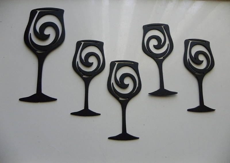 Wine Glasses Set Of 5 Metal Wall Art Wall By Sayitallonthewall