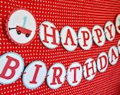 Modern Red Wagon Happy Birthday Banner