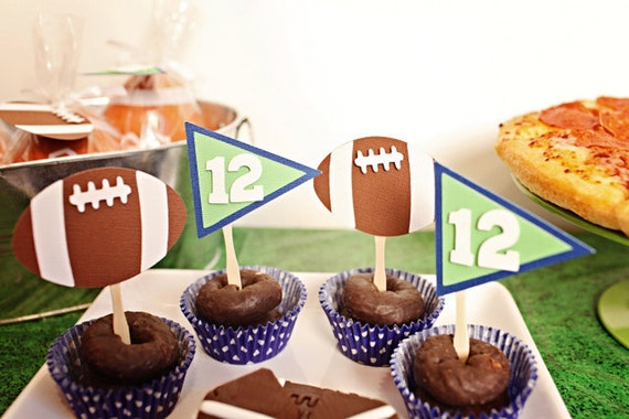 TOUCHDOWN Football Party Cupcake Toppers