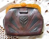 Bakelite and Tooled Leather Art Deco Purse / Handbag - Tooled leather Purse