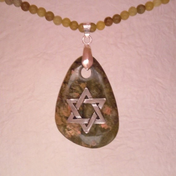 Star of David on Slanted Oval Unakite Stone in shades of green and peach