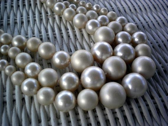 Vintage Faux Pearl Necklace, Triple Strand
