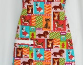 Pet Lovers Bright Colors Chef Style Apron with Dachshunds, Bull Dogs, Cats and Fish